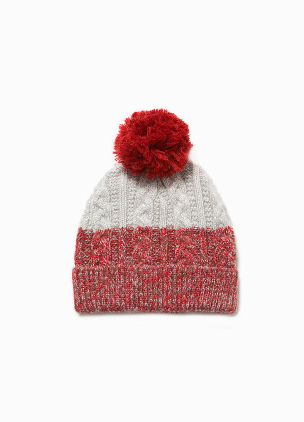 Knitted two-tone beanie cap with pompoms | OVS