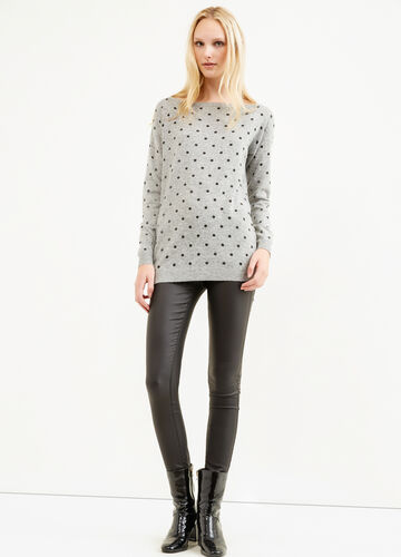 Polka dot patterned pullover in wool blend