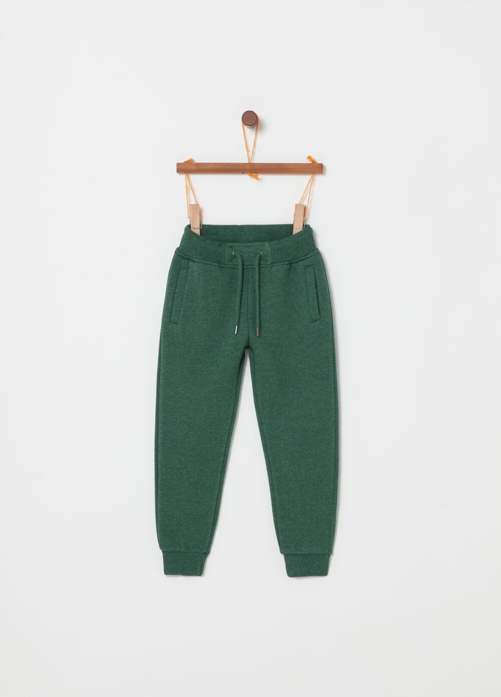 Fleece jogger trousers with drawstring