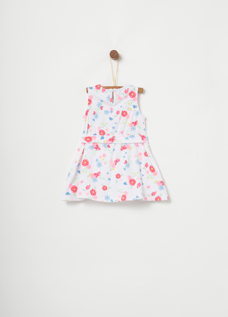 Sleeveless dress with floral sash image number null