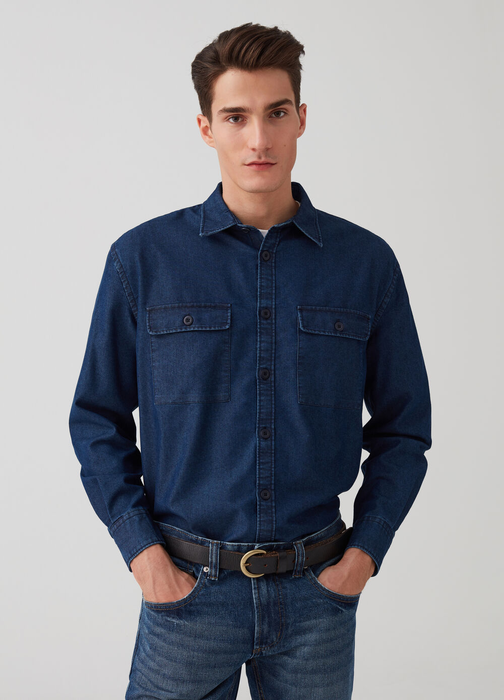 Comfort-fit shirt jacket in denim