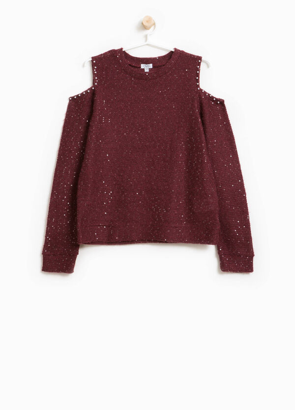 Stretch pullover with beads and sequins | OVS