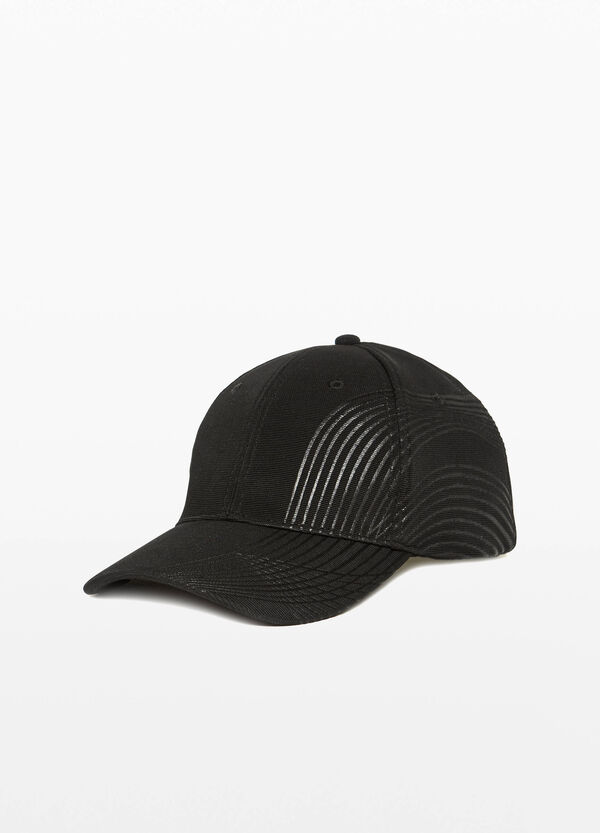 Baseball cap with striped print