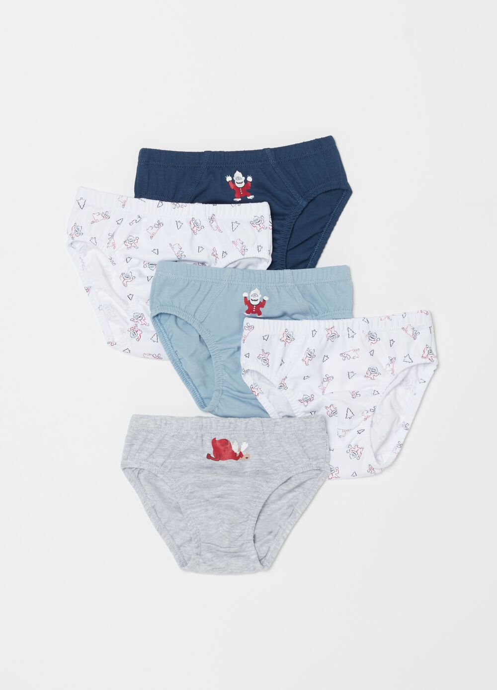 Five-pack Christmas briefs in 100% organic cotton