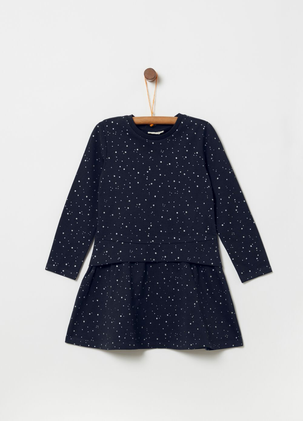 Dress with micro polka dot glitter print