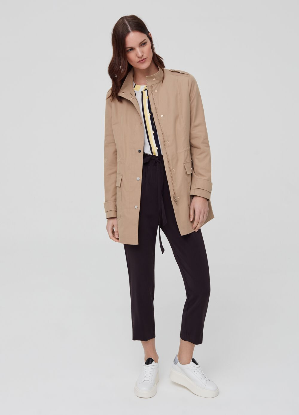 Jacket with high neck, zip and buttons