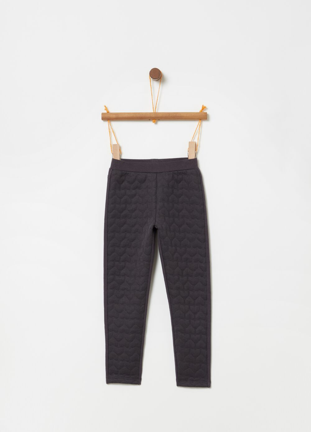 Stretch leggings with hearts weave