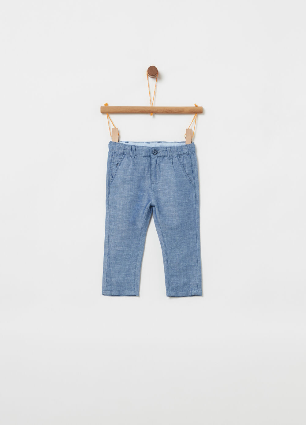 Cotton and linen trousers with pocket