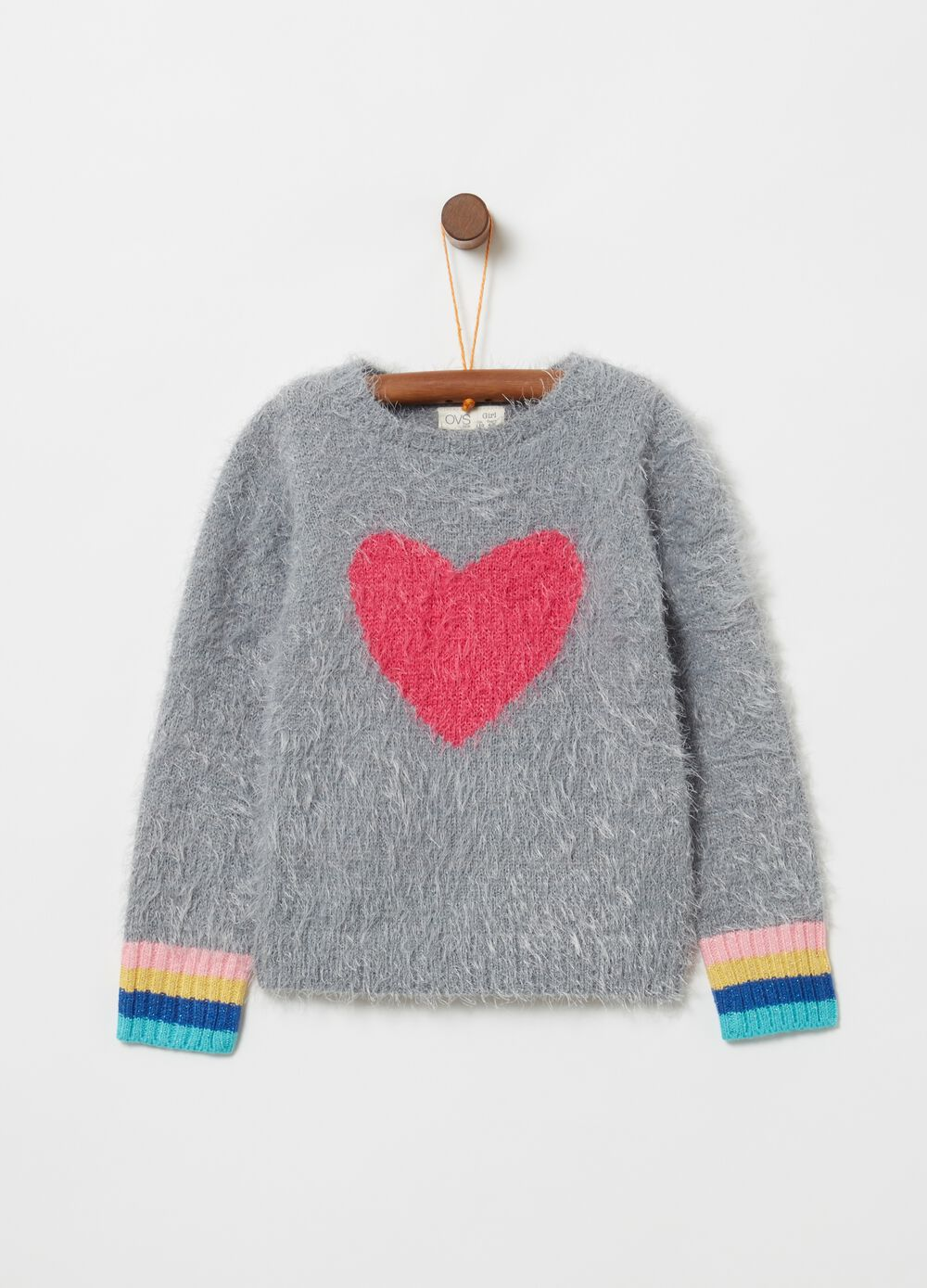 Pullover with stripes and heart embroidery