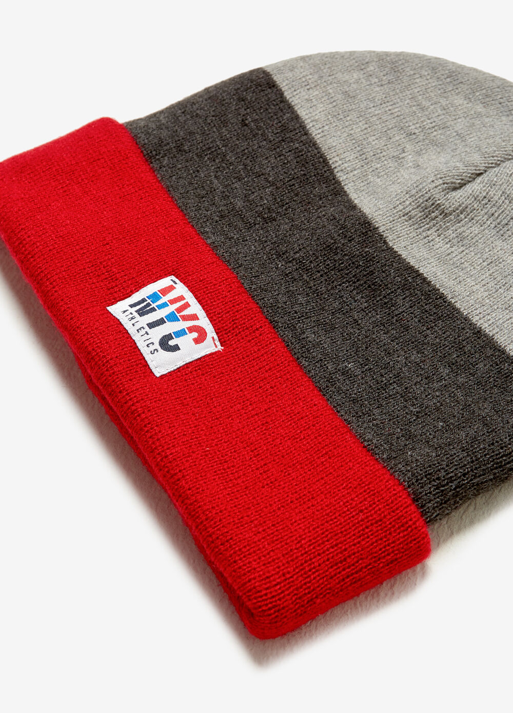 Beanie cap with fold and patch