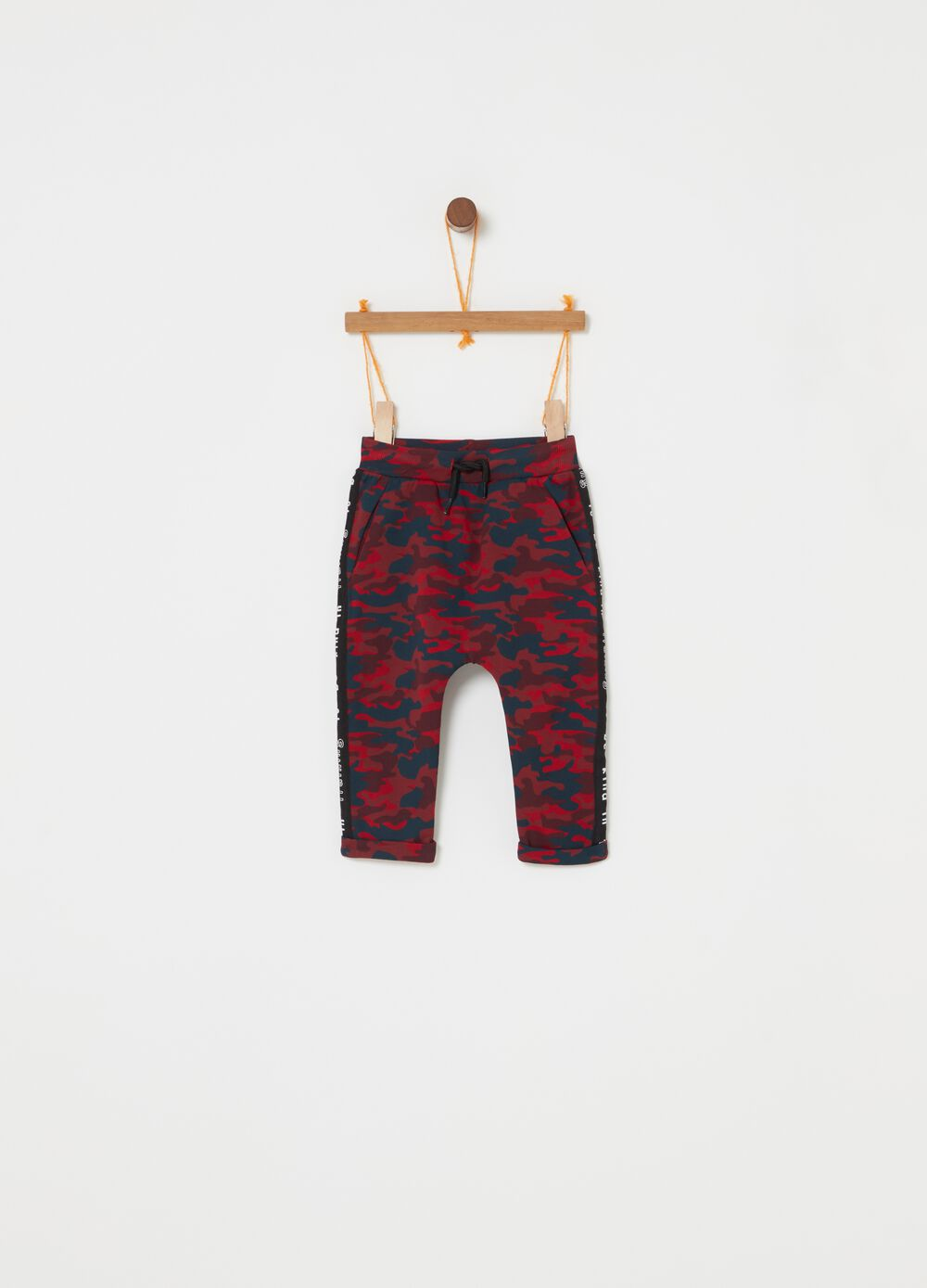 Camouflage trousers with elasticated waist band