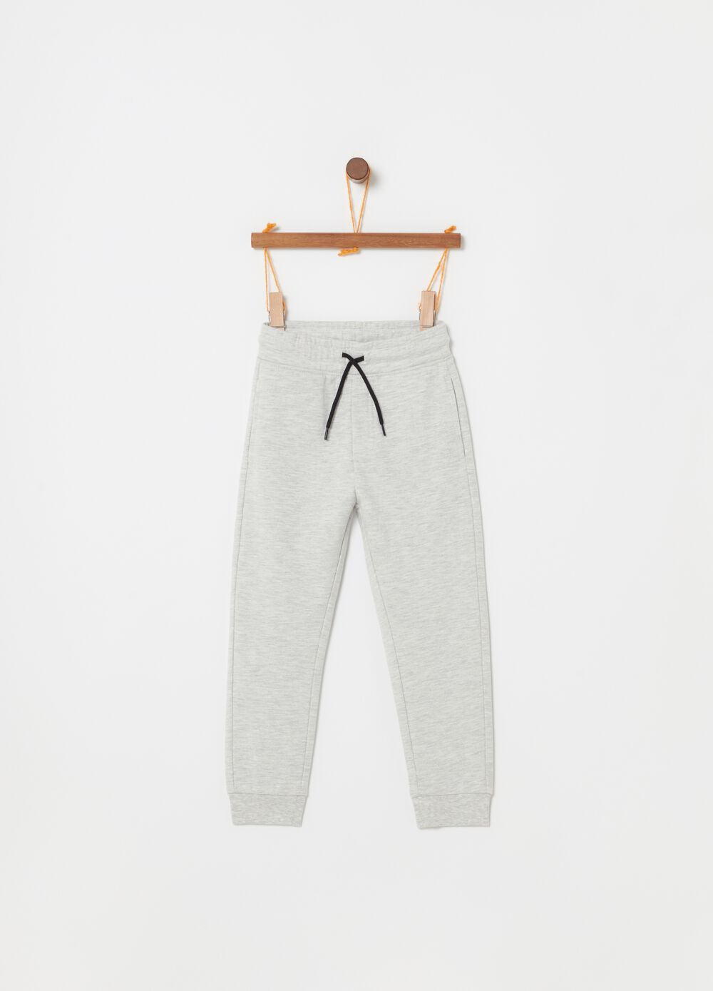 Mélange jogger trousers with drawstring and print