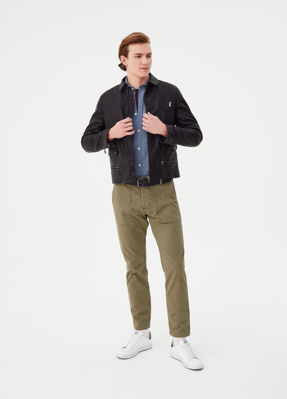 Solid colour regular-fit trousers