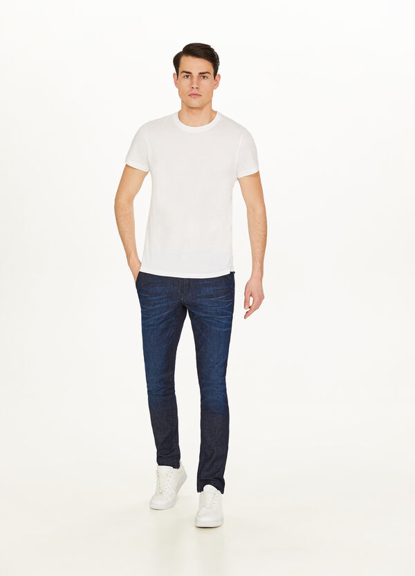 Slim fit, stretch chino jeans with whiskering