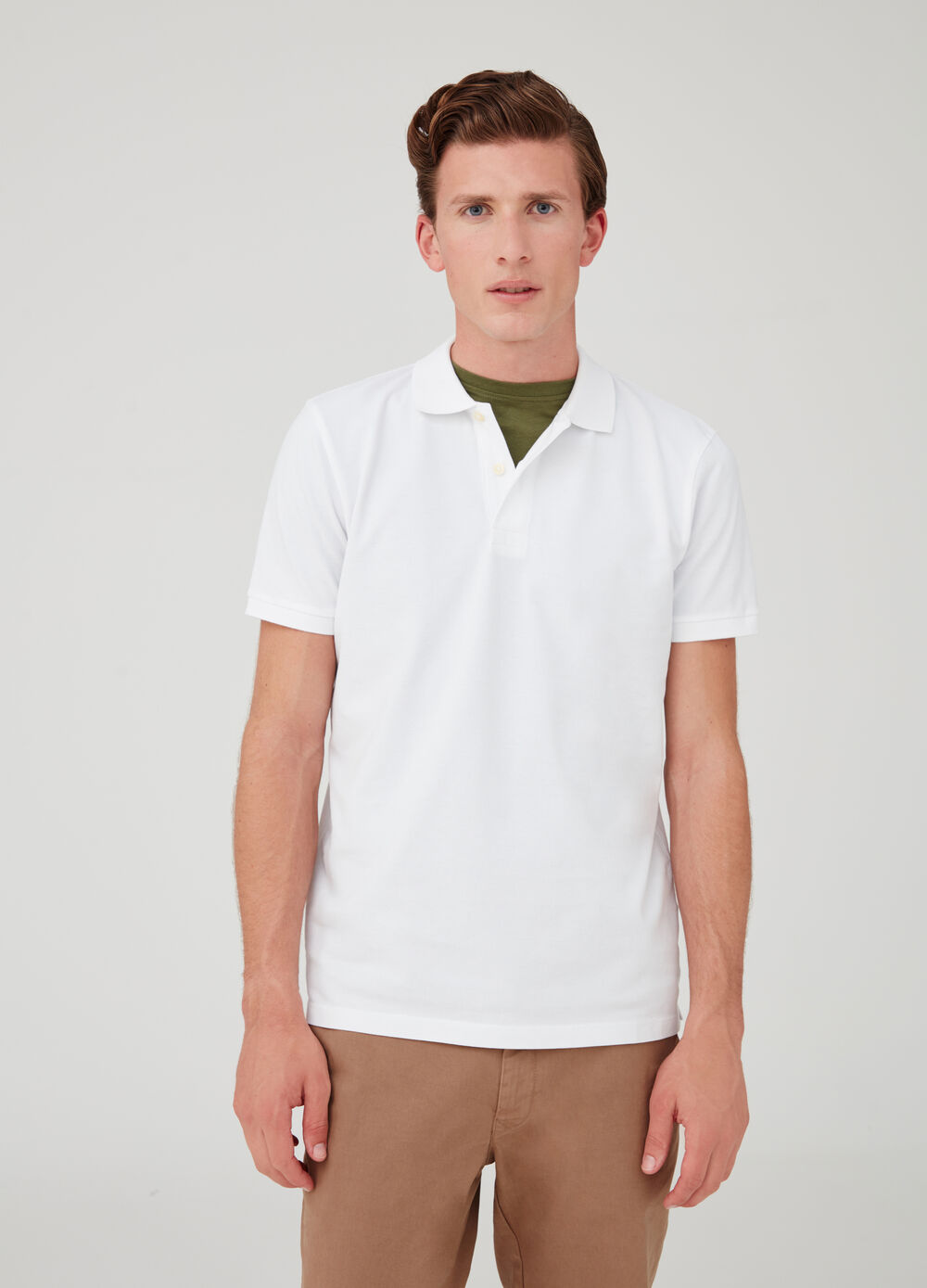 Solid colour polo shirt in double twill cotton piquet