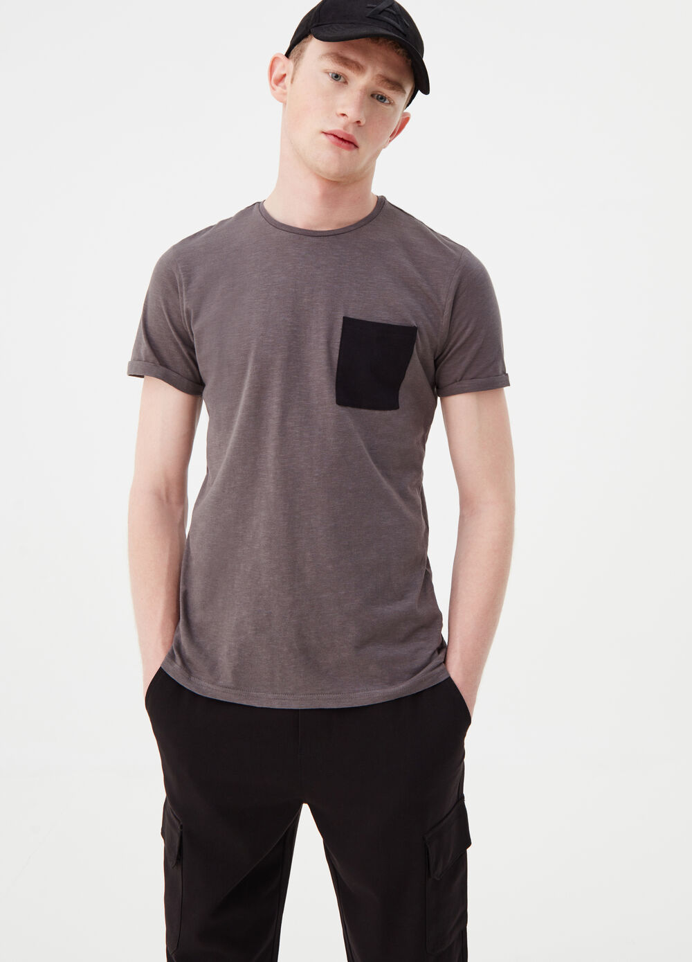 T-shirt with contrasting pocket
