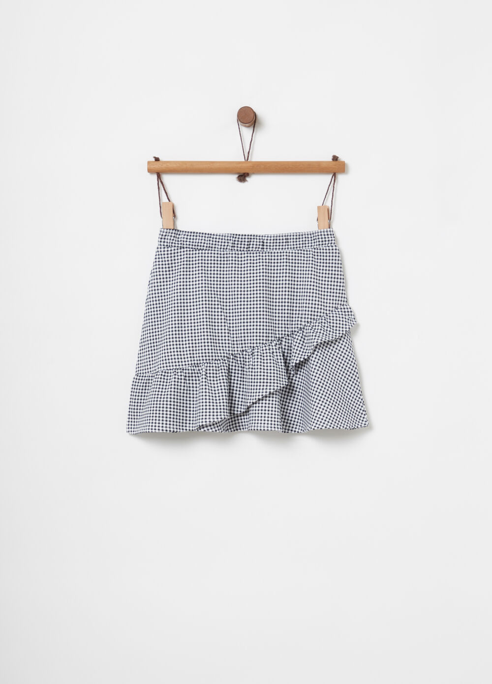 Lightweight fleece skirt with frills and Vichy