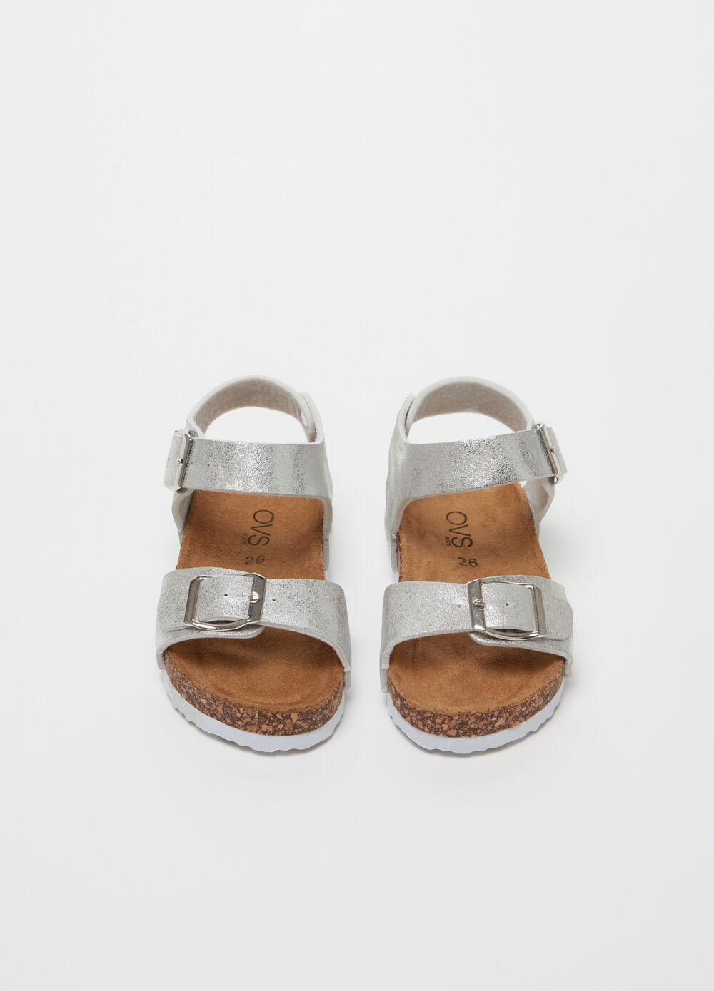 Sandals with shiny-effect straps and buckle