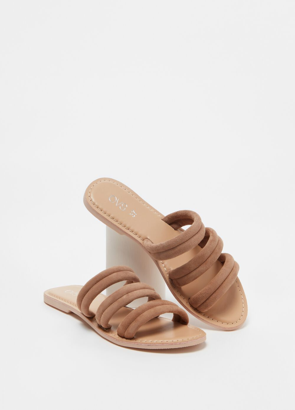 Suede sandals with bands across foot