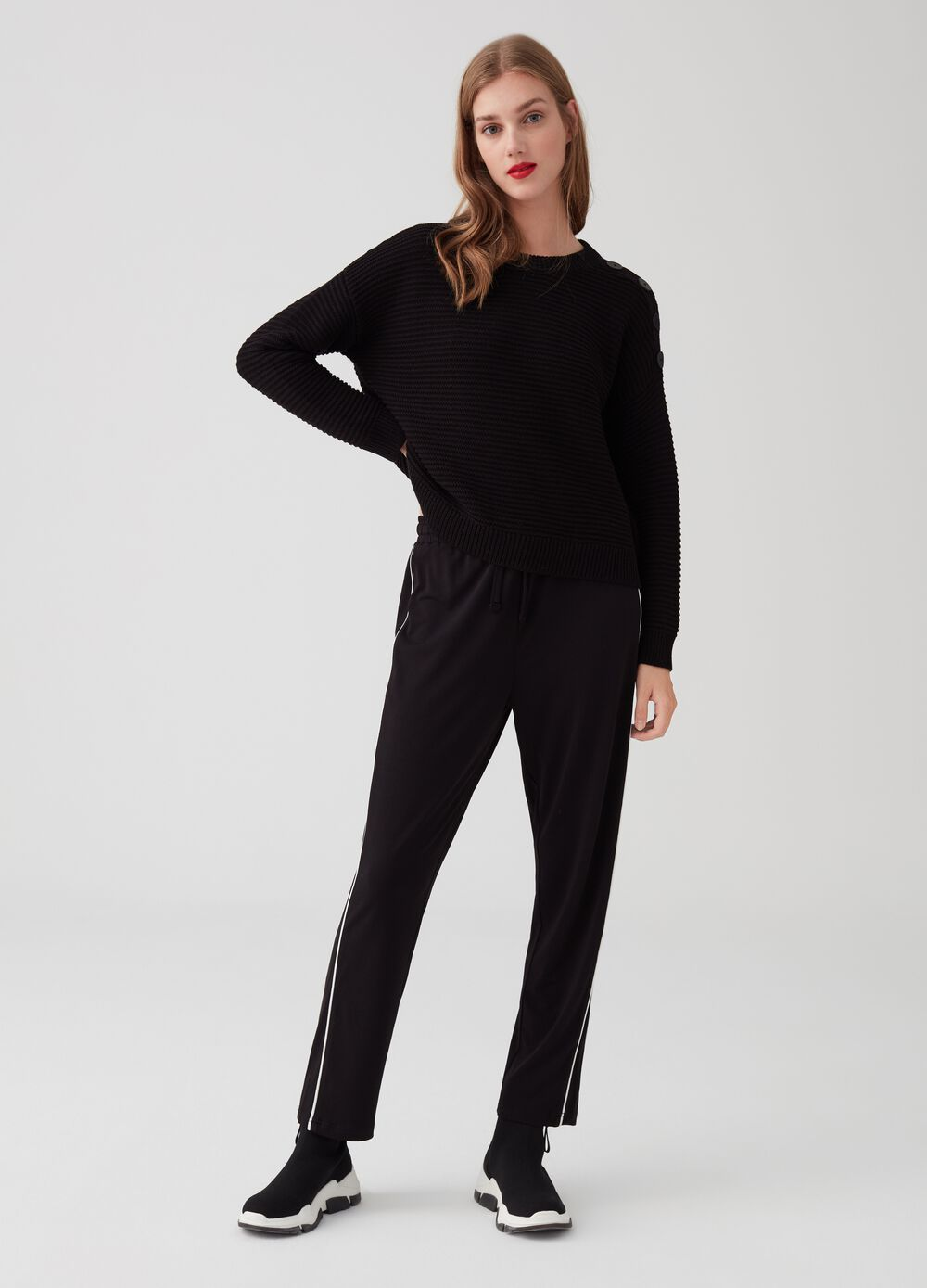 Stretch trousers with drawstring