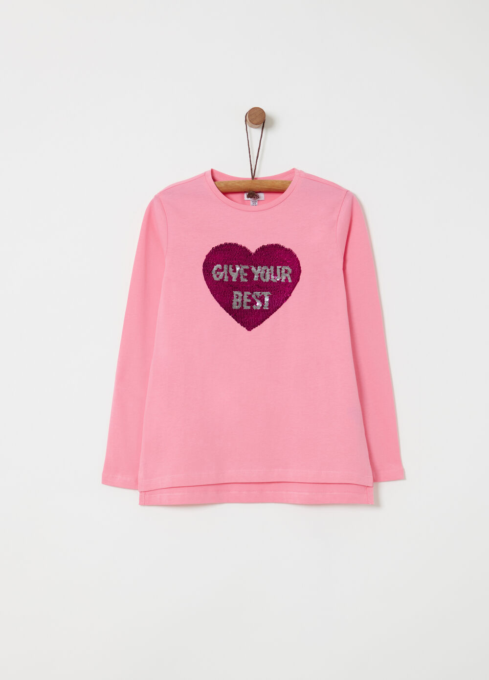 T-shirt with heart embroidery and sequins