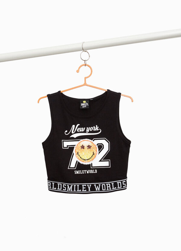 Crop top in stretch cotton with Smiley print