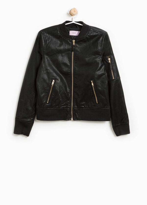 Textured bomber jacket with zip