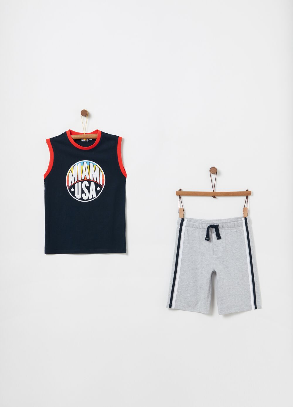 Vest and shorts jogging set in cotton