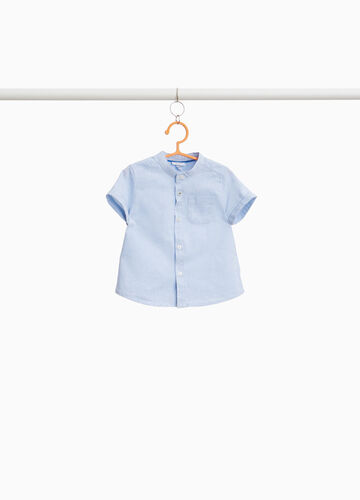 Linen and cotton shirt with top pocket