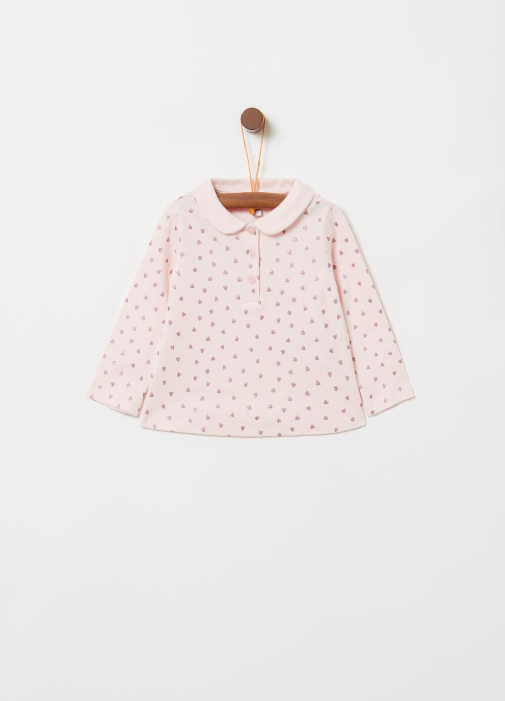 Polo shirt with glitter pattern and long sleeves