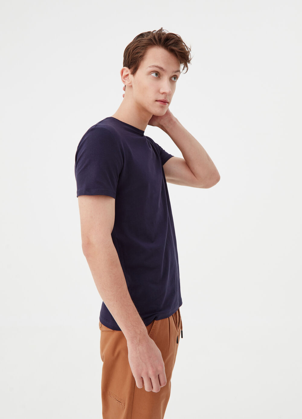 Solid colour stretch cotton T-shirt