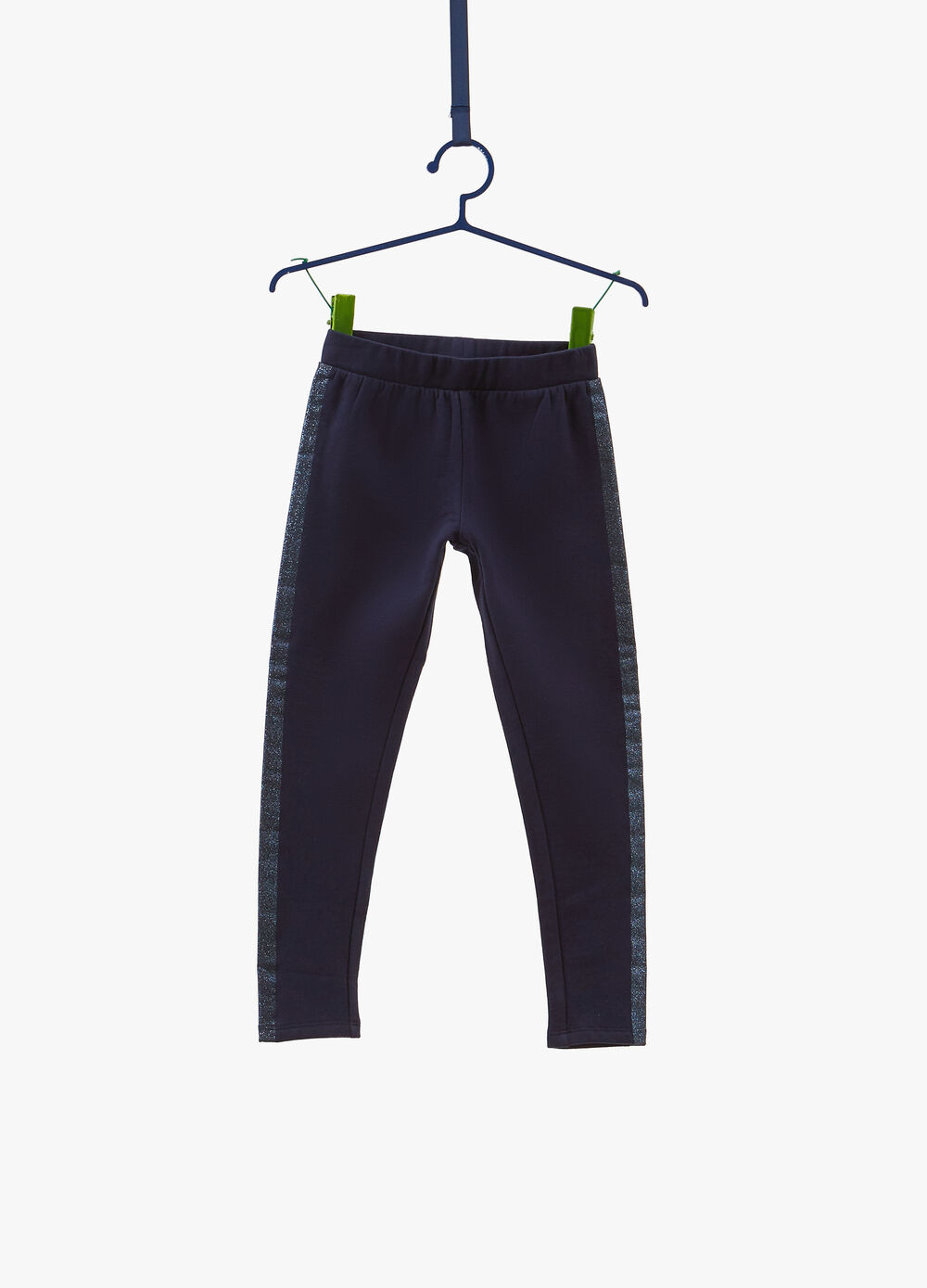 Stretch cotton trousers with glitter bands