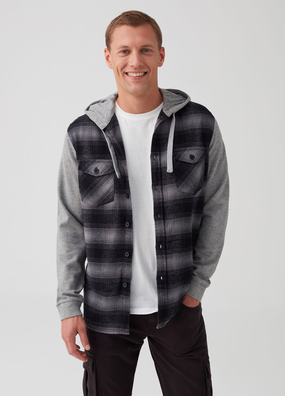 Regular-fit flannel shirt with hood