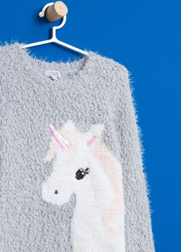 Frayed pullover with unicorn print