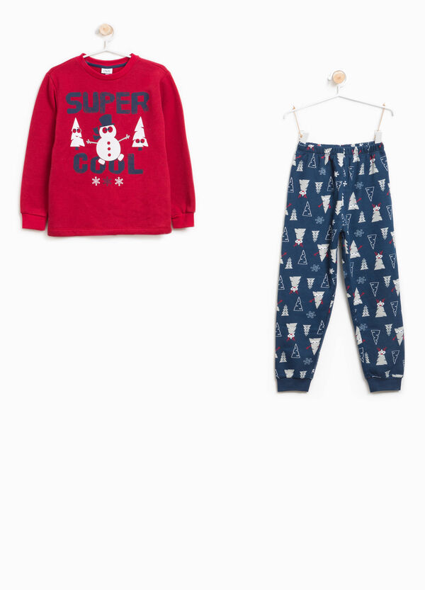 Stretch cotton pyjamas with Christmas pattern | OVS