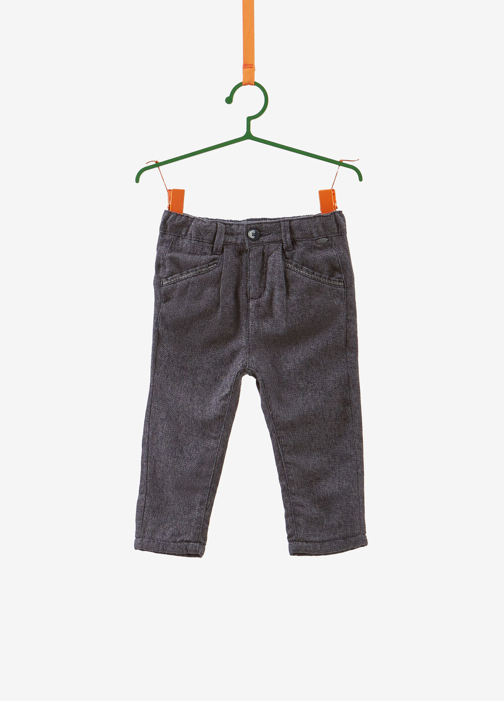 Trousers in 100% two-tone cotton