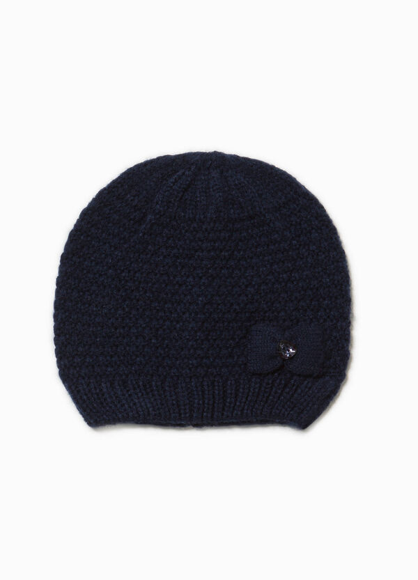 Beanie cap with diamanté motif and bow | OVS