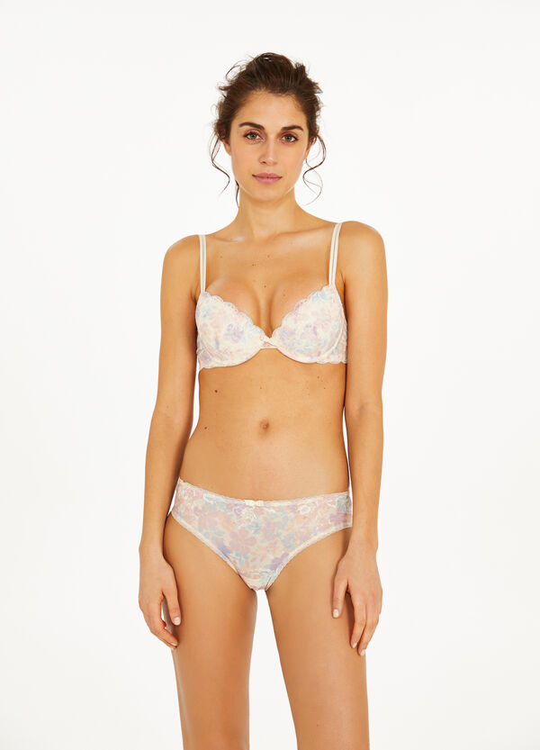 Faded-effect briefs with lace