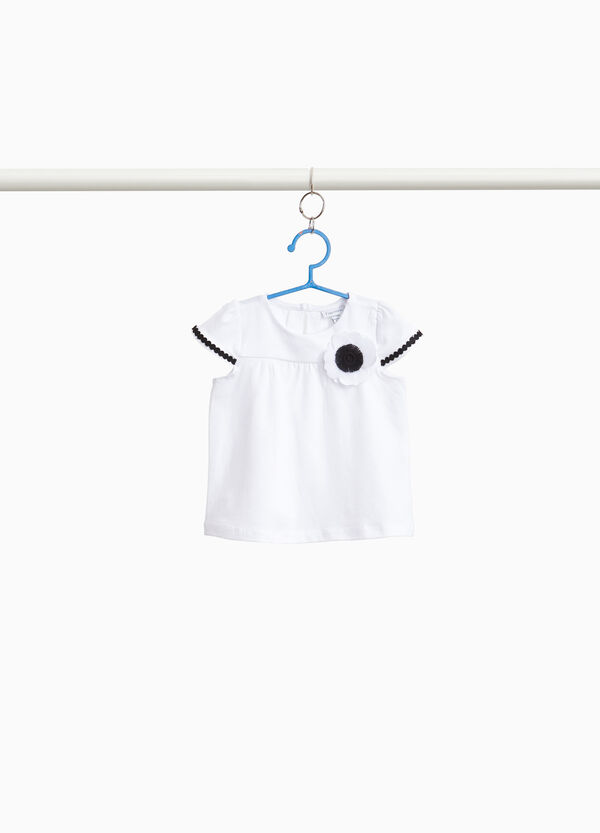 Stretch cotton T-shirt with flower