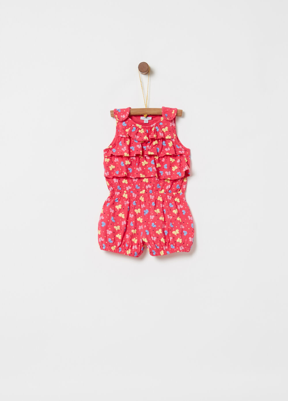 Short sleeveless onesie with flounces and pattern