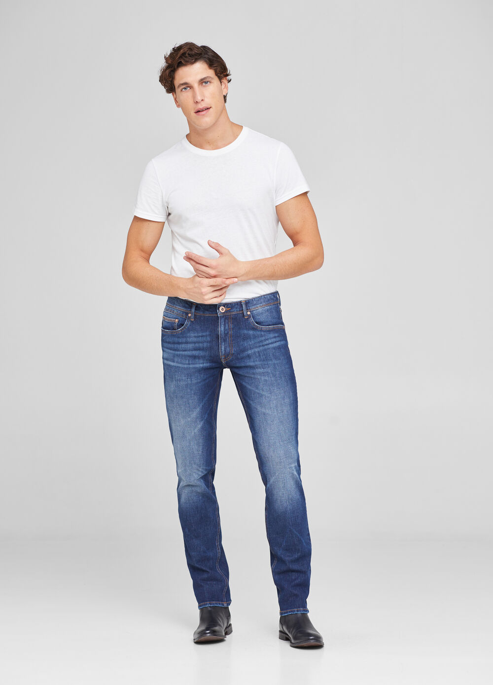 Vintage-wash slim-fit stretch jeans