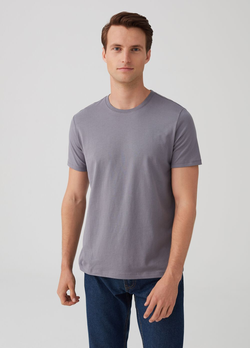 100% Supima cotton T-shirt with round neck