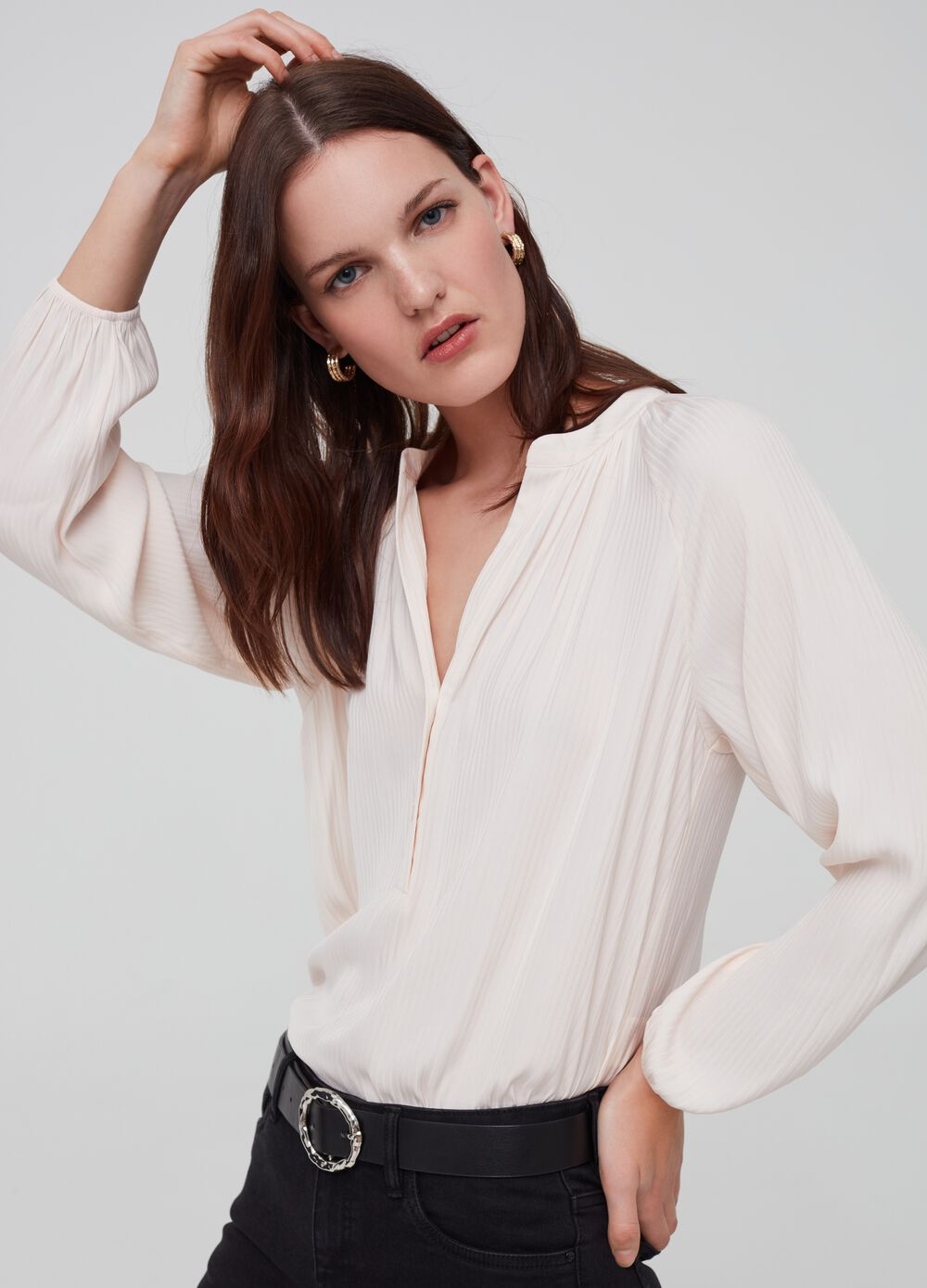 Ribbed satin blouse