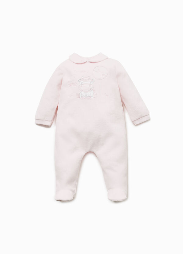 Cotton blend onesie with pony patch