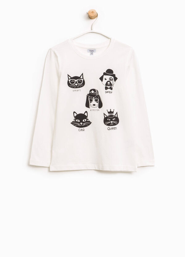 Cotton T-shirt with dogs and cats print | OVS