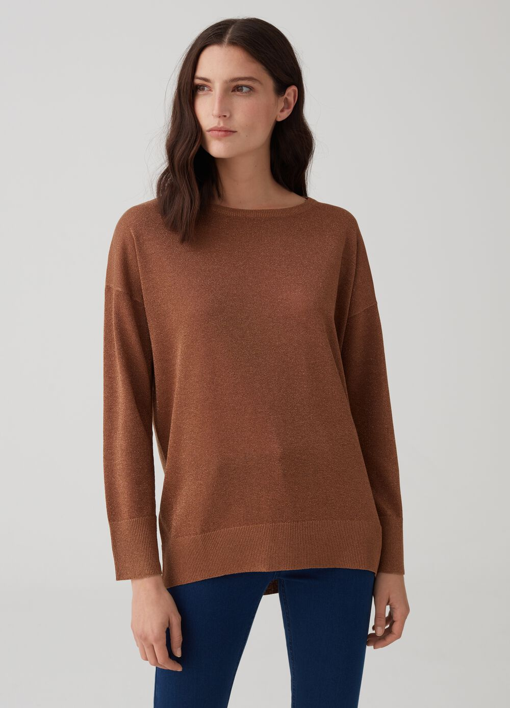 Pullover with drop shoulder and lurex