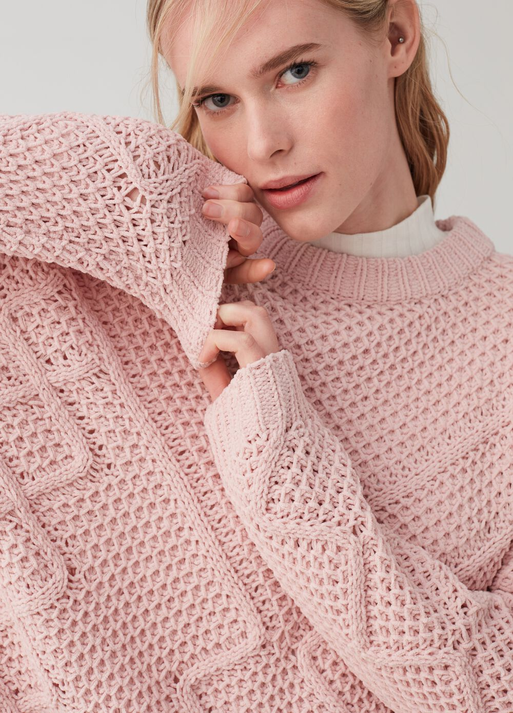 Knitted chenille pullover with ribbing