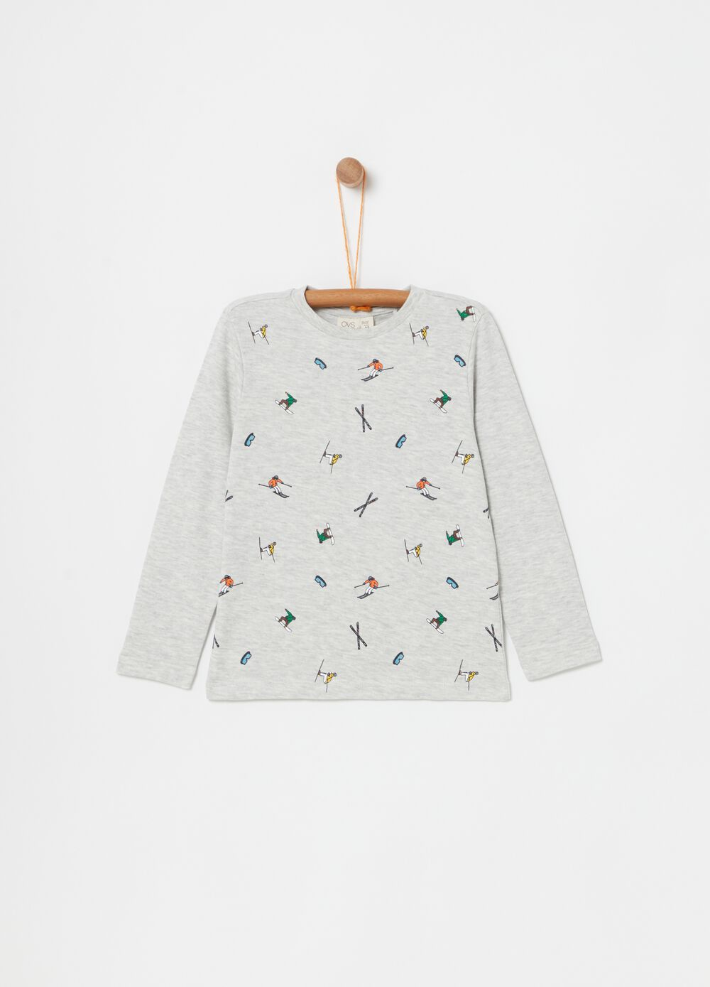 Mélange T-shirt with skiers print