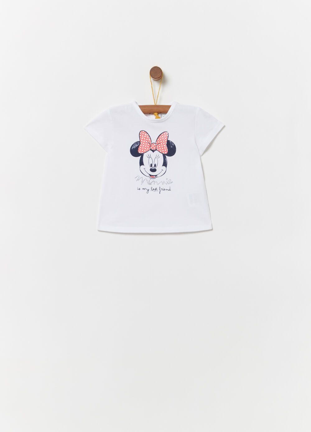 T-shirt with glitter Minnie Mouse print and diamantés