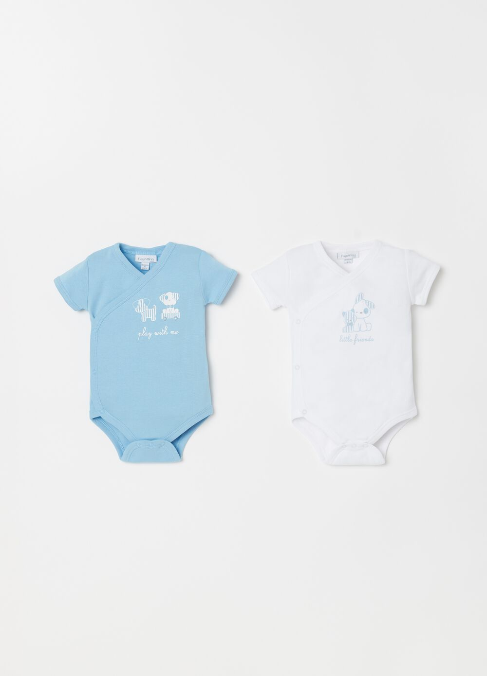 Two-pack crossover cotton bodysuits with print